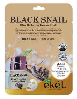 Тканевая маска для лица с муцином черной улитки EKEL Black Snail Ultra Hydrating Essence Mask 25г: фото